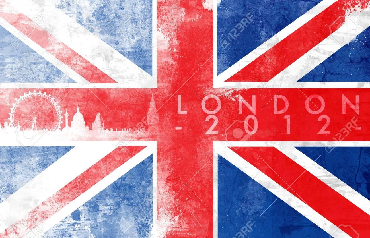 United kingdom painted flag with London skyline Stock Photo - 13545868