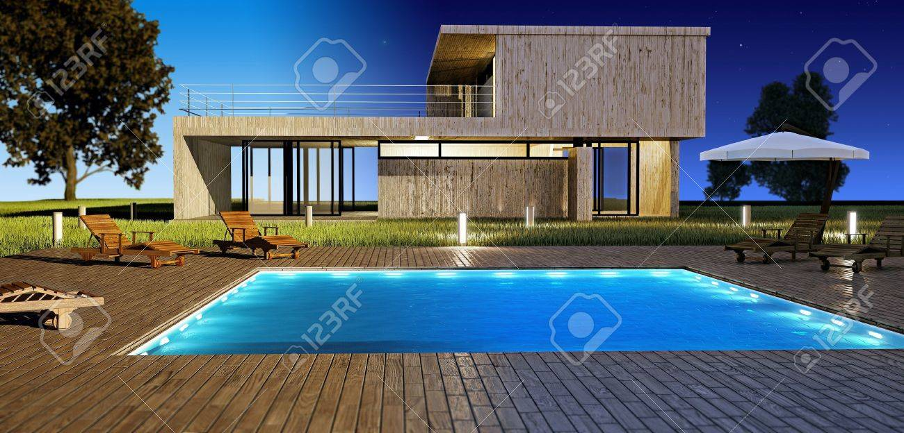 modern house with swimming pool day and night vision stock photo