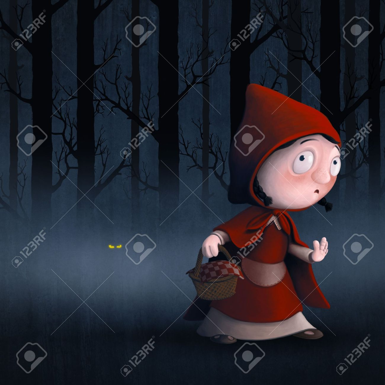 Little Red Riding Hood in a wood with the wolf Stock Photo - 17181944