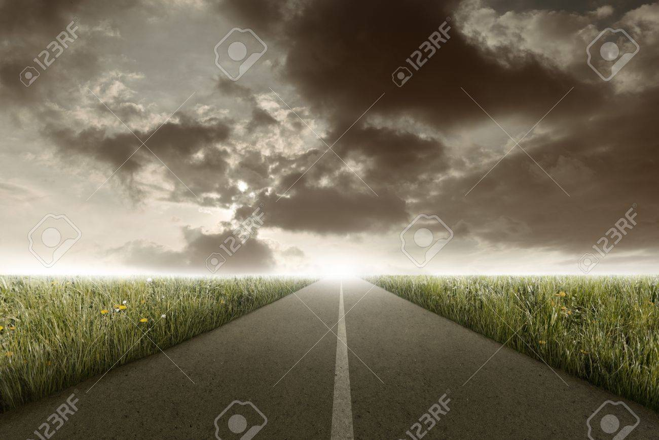 Rectilinear road between the meadow in the sunset time Stock Photo - 19402021