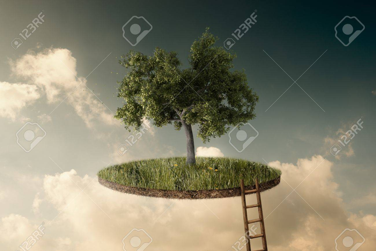Suspended land with a single tree and a stairway to go up Stock Photo - 19402017