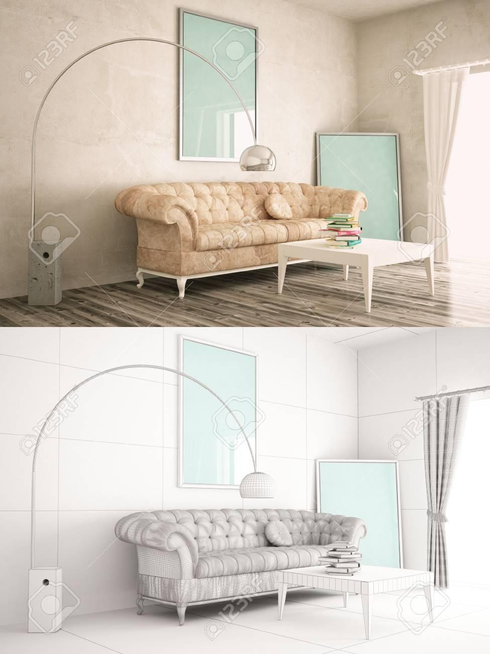 Texturizado Interior De La Casa Y La Versión De Alambre Con Marco ...