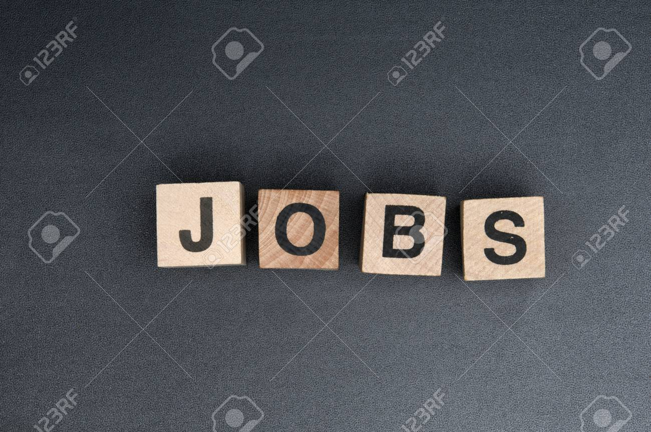 Wooden cubes with letters, spelling jobs. Stock Photo - 15952264