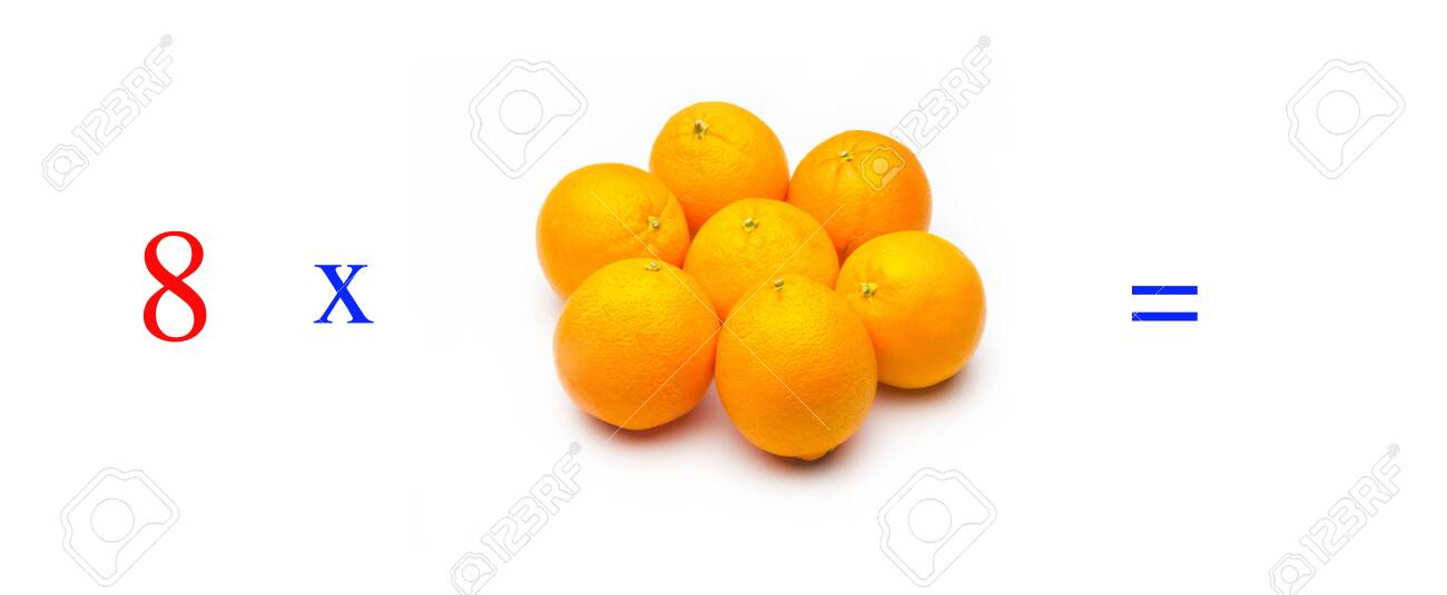 Simple problems of multiplying with oranges, mathematical problems for children who study and want to learn math and calculus; learn to multiply with fruits and numbers, oranges and figures and numerical symbols - 138296074
