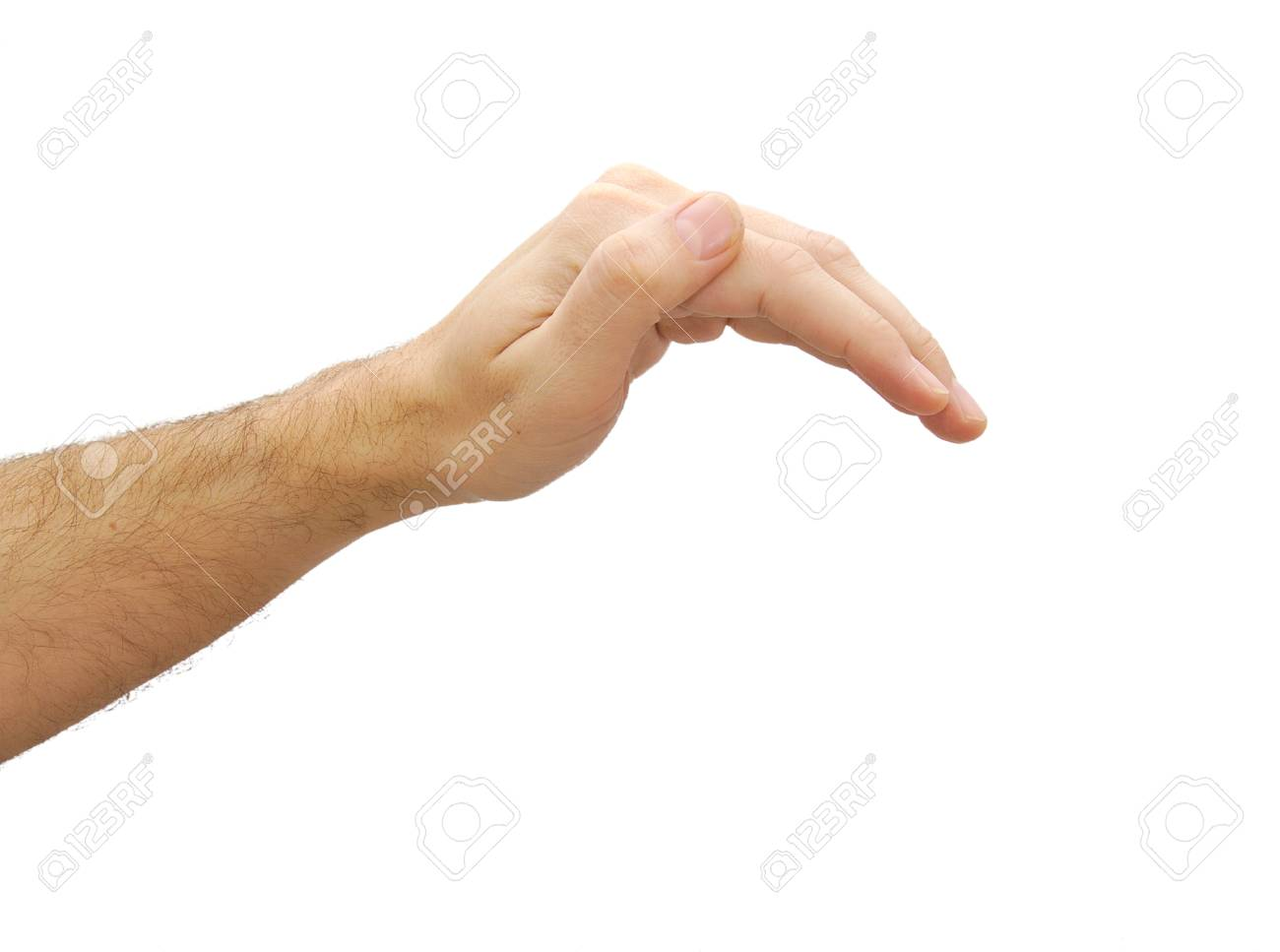 hand prepared to cover anything gesture isolated on white