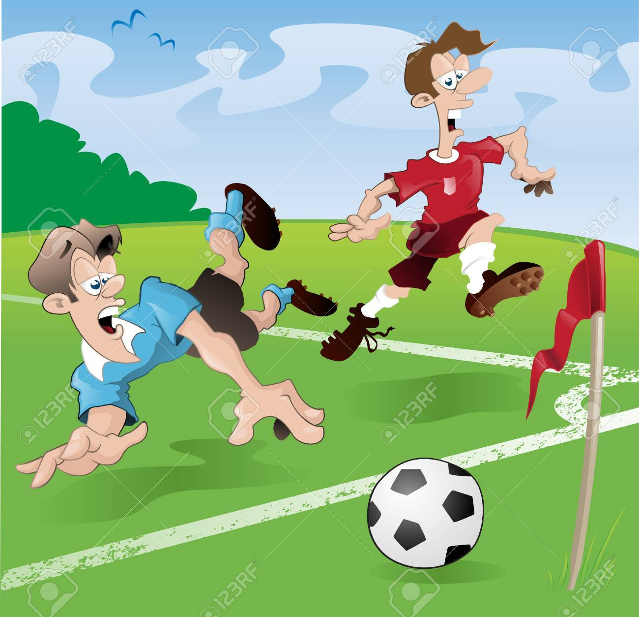 These players clearly have no regard for the rules of the beautiful game Stock Vector - 7803289