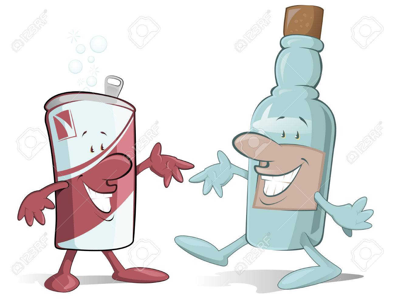 Cartoon beer Can and Booze Bootle characters off to have a party Stock Vector - 7927727