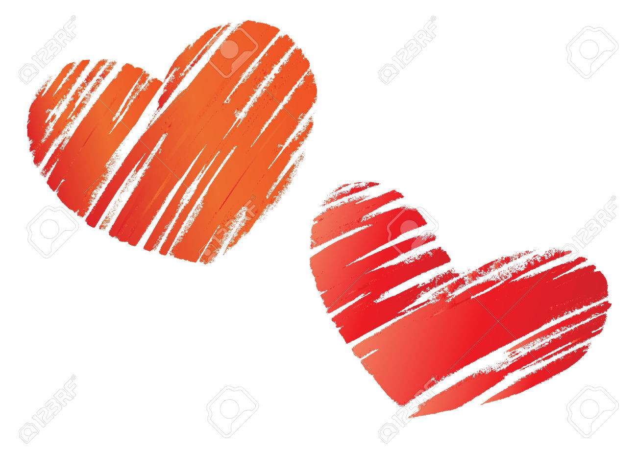 illustration of two Hand drawn valentine love hearts Stock Vector - 7991873