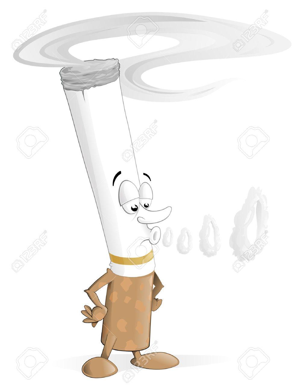 Cigarette Caricature illustration du caractère de cigarette caricature soufflant anneaux