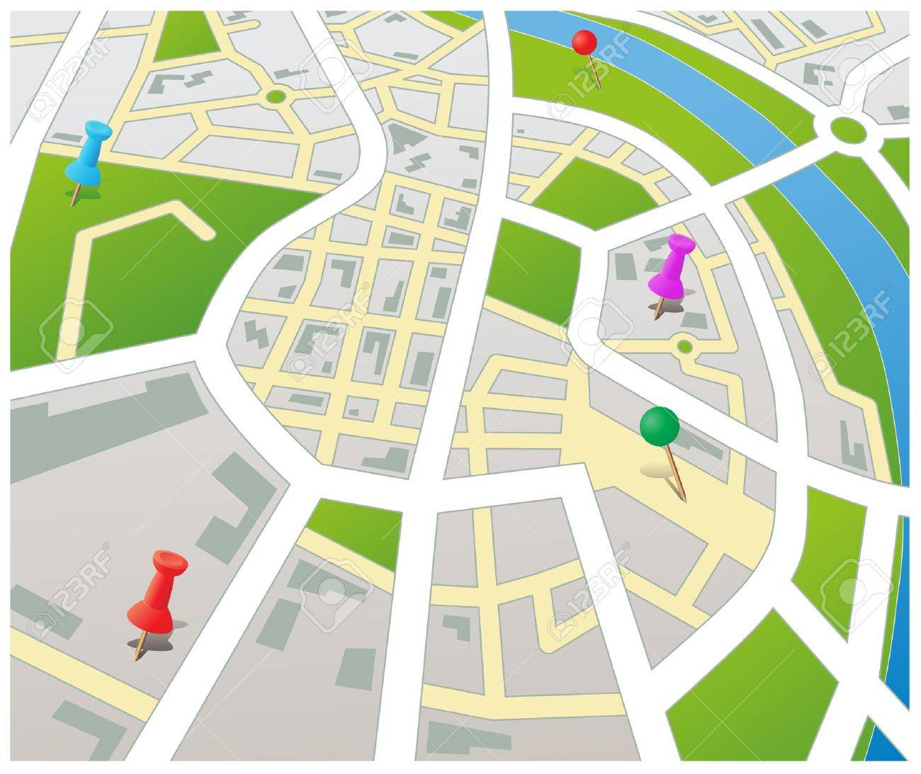 Editable vector street map of a generic city with push pins Stock Vector - 9310427