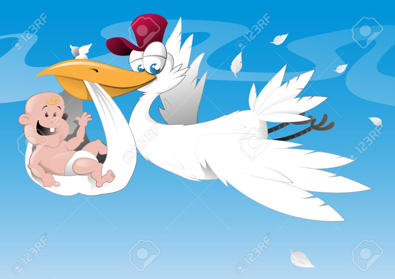 Stork and newborn baby Stock Vector - 10824101