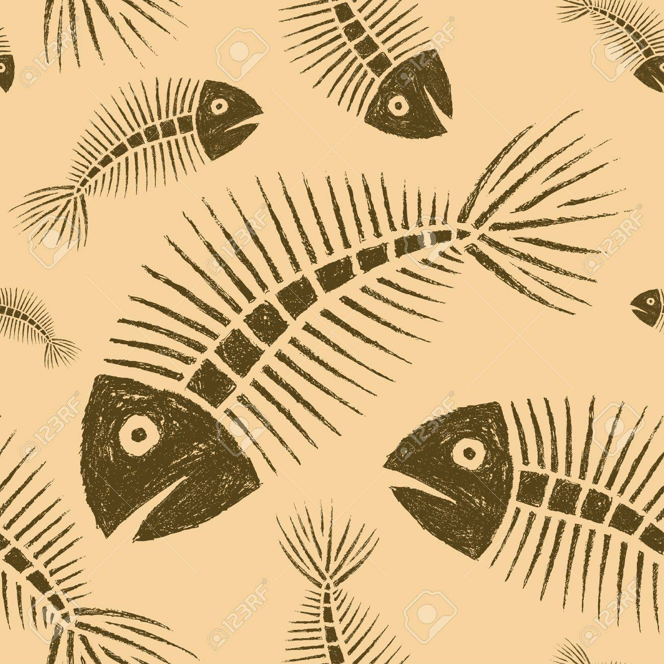 Hand Drawn Fish Skeleton Seamless Tile Stock Vector - 11038928