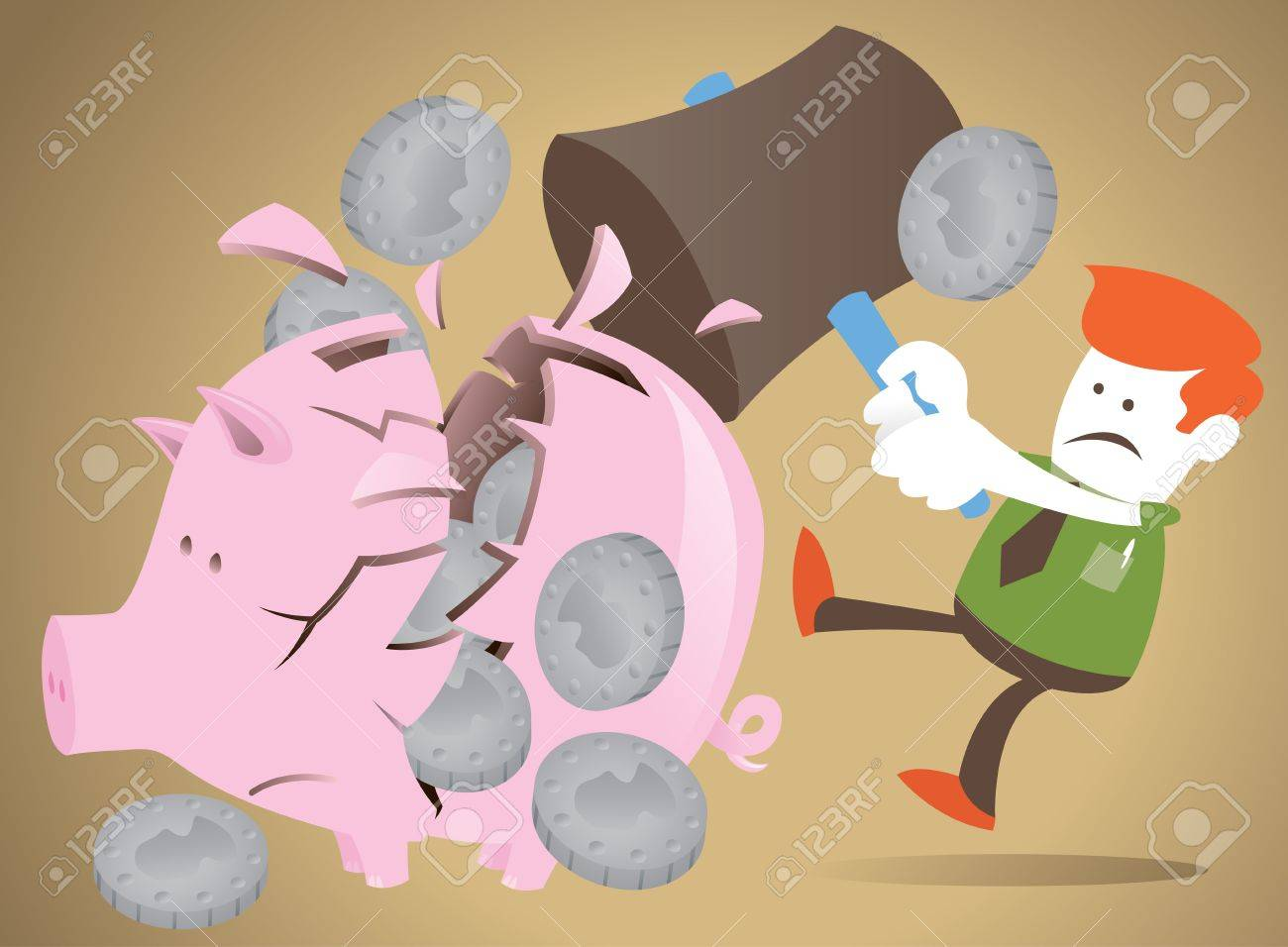 Corporate Guy decides to break his piggy bank Stock Vector - 12496295