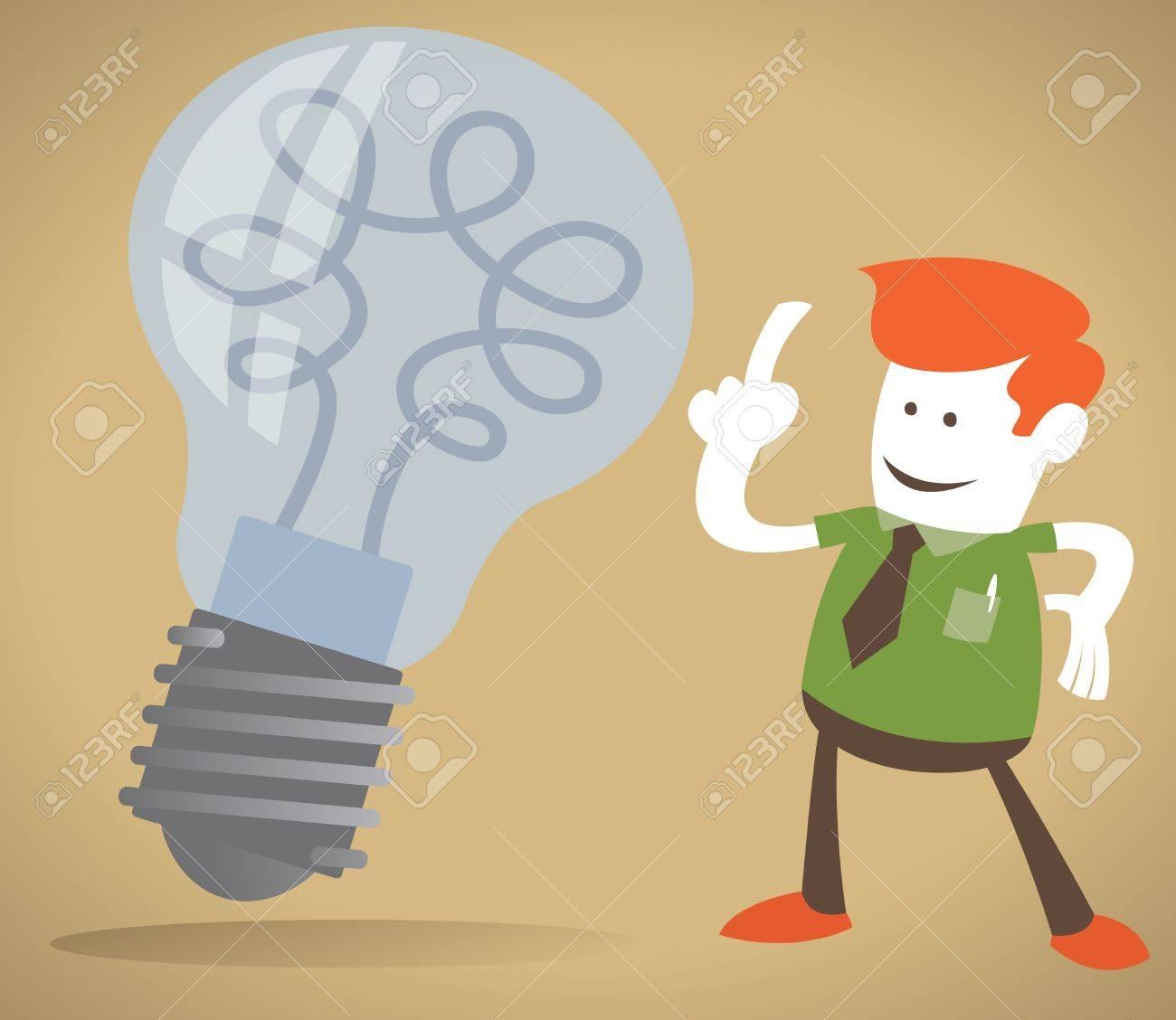 Retro Corporate Guy has a bright idea Stock Vector - 12496288