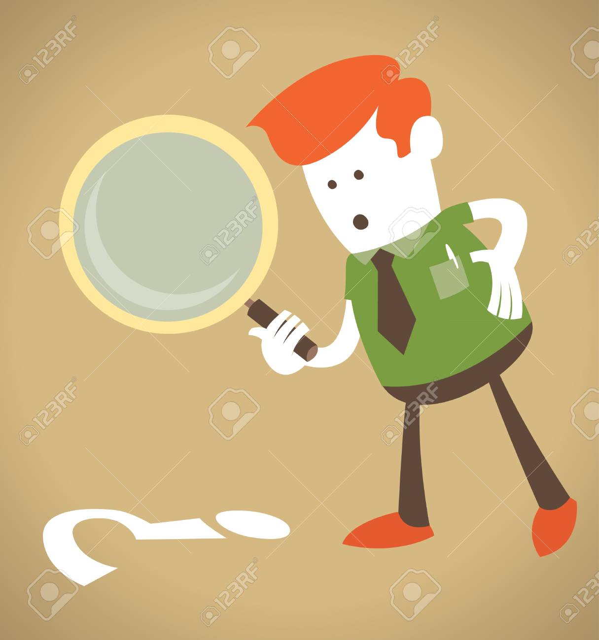 Retro Corporate Guy with magnifying glass Stock Vector - 12496272