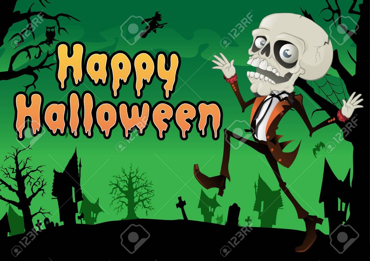 Happy Halloween Skeleton Postcard Stock Vector - 15687439