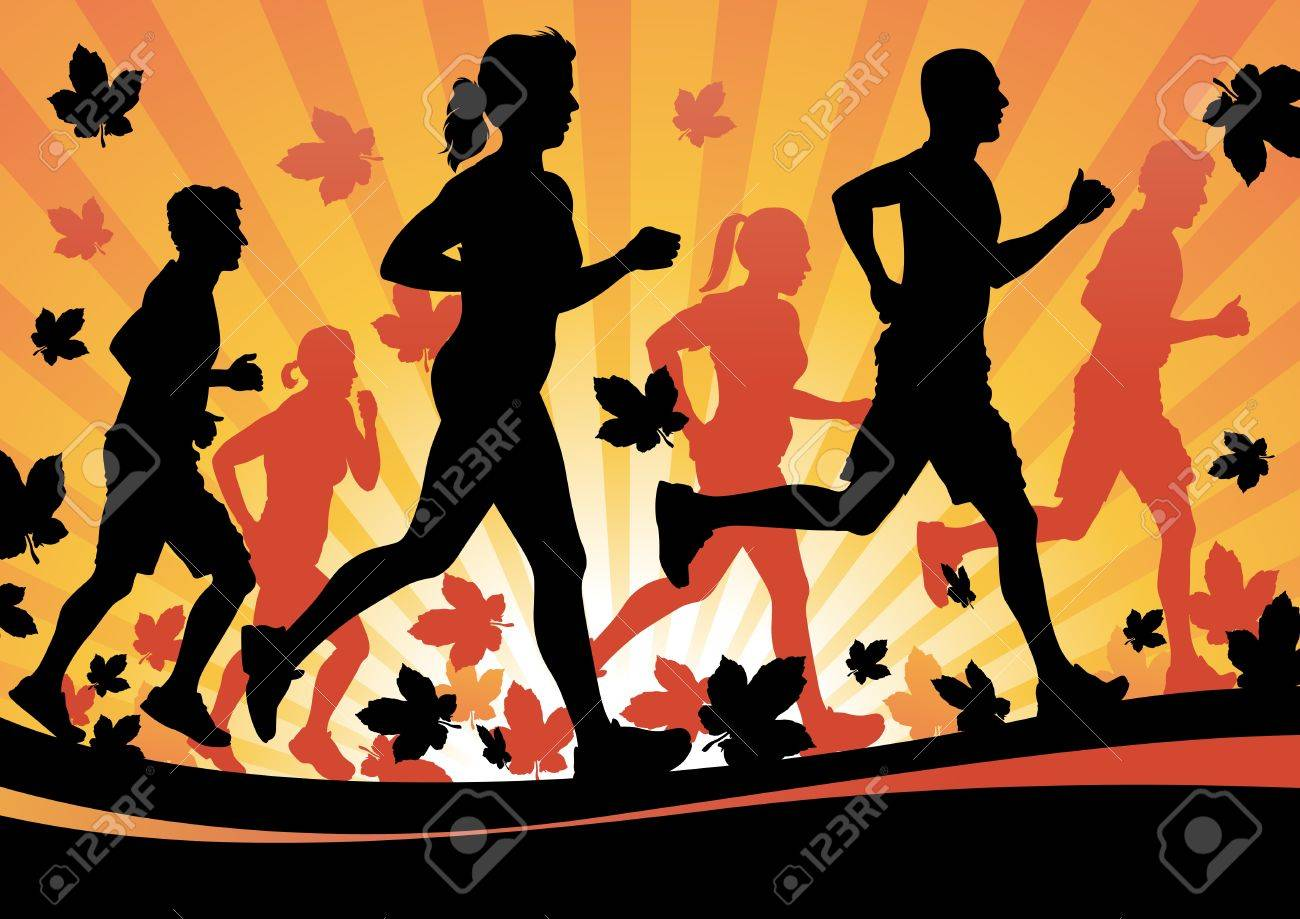 Running in the Autumn Leaves Stock Vector - 15903177