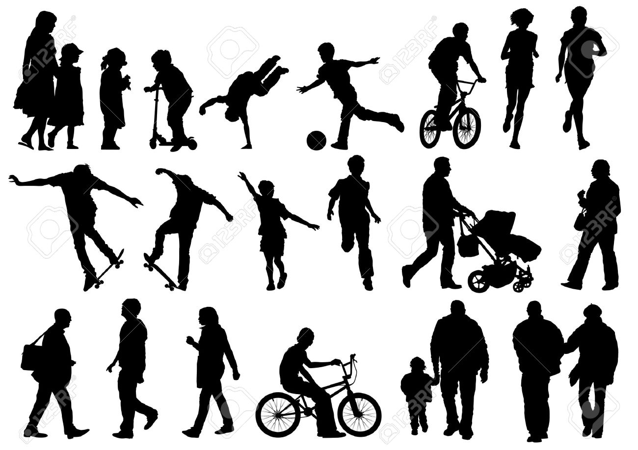 Collection Of Outdoors And Active People Stock Vector