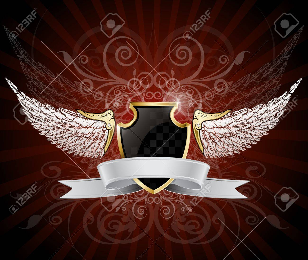 Winged Shield and Banner Stock Vector - 18216238