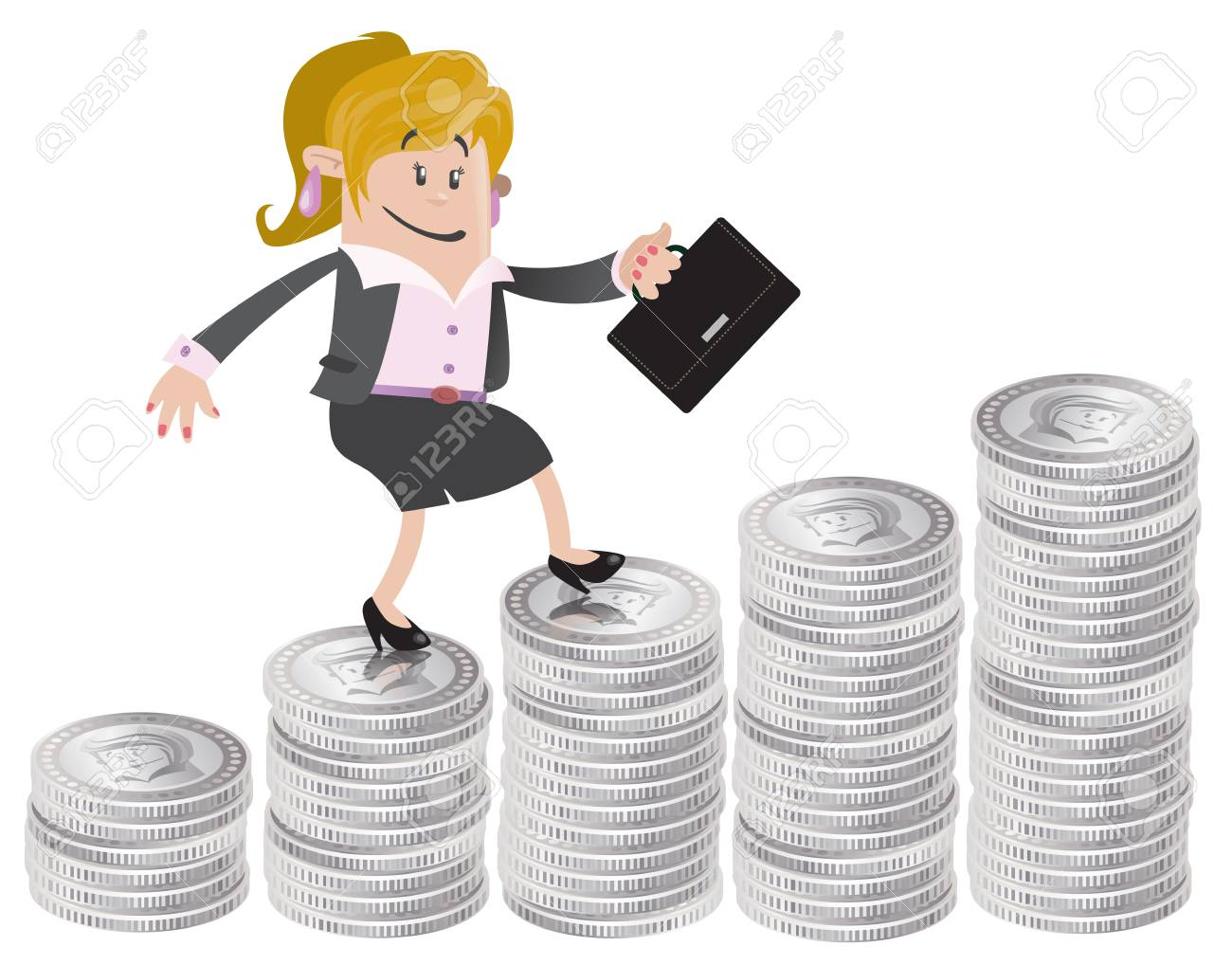 Businesswoman Buddy climbs up the money hill Stock Vector - 18818362