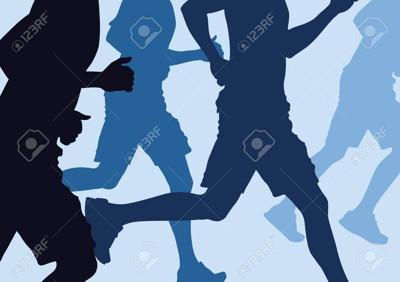 illustration of a group of men Running in a cross country run Stock Vector - 21525049