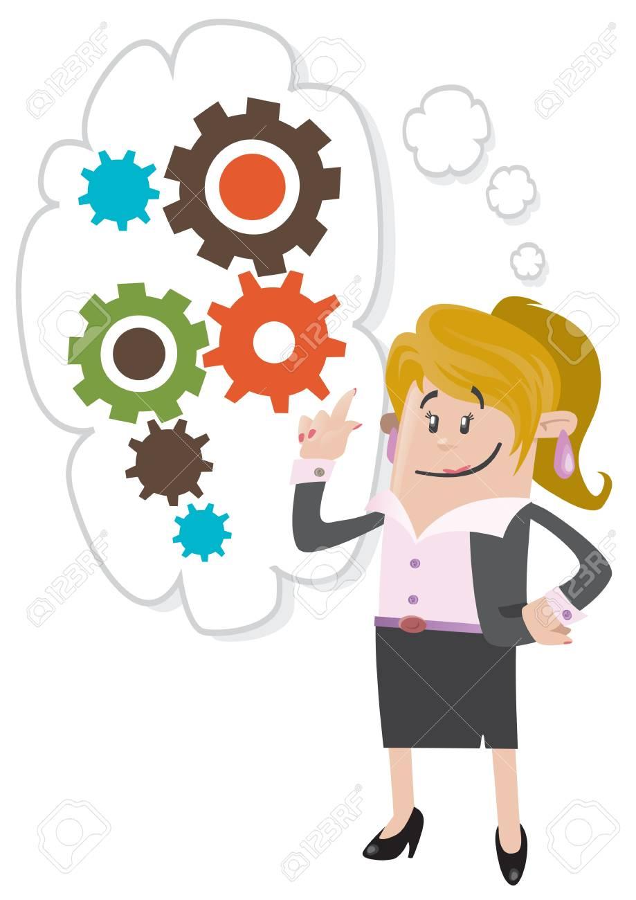 ビジネス仲間女性を考えています。 ロイヤリティフリークリップアート