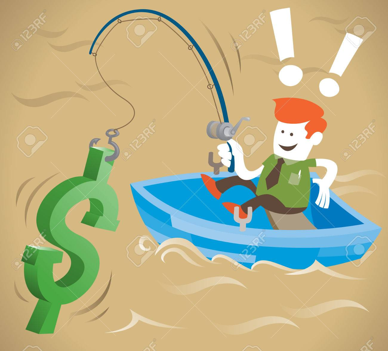 Retro Corporate Guy is fishing for money Stock Vector - 22707439