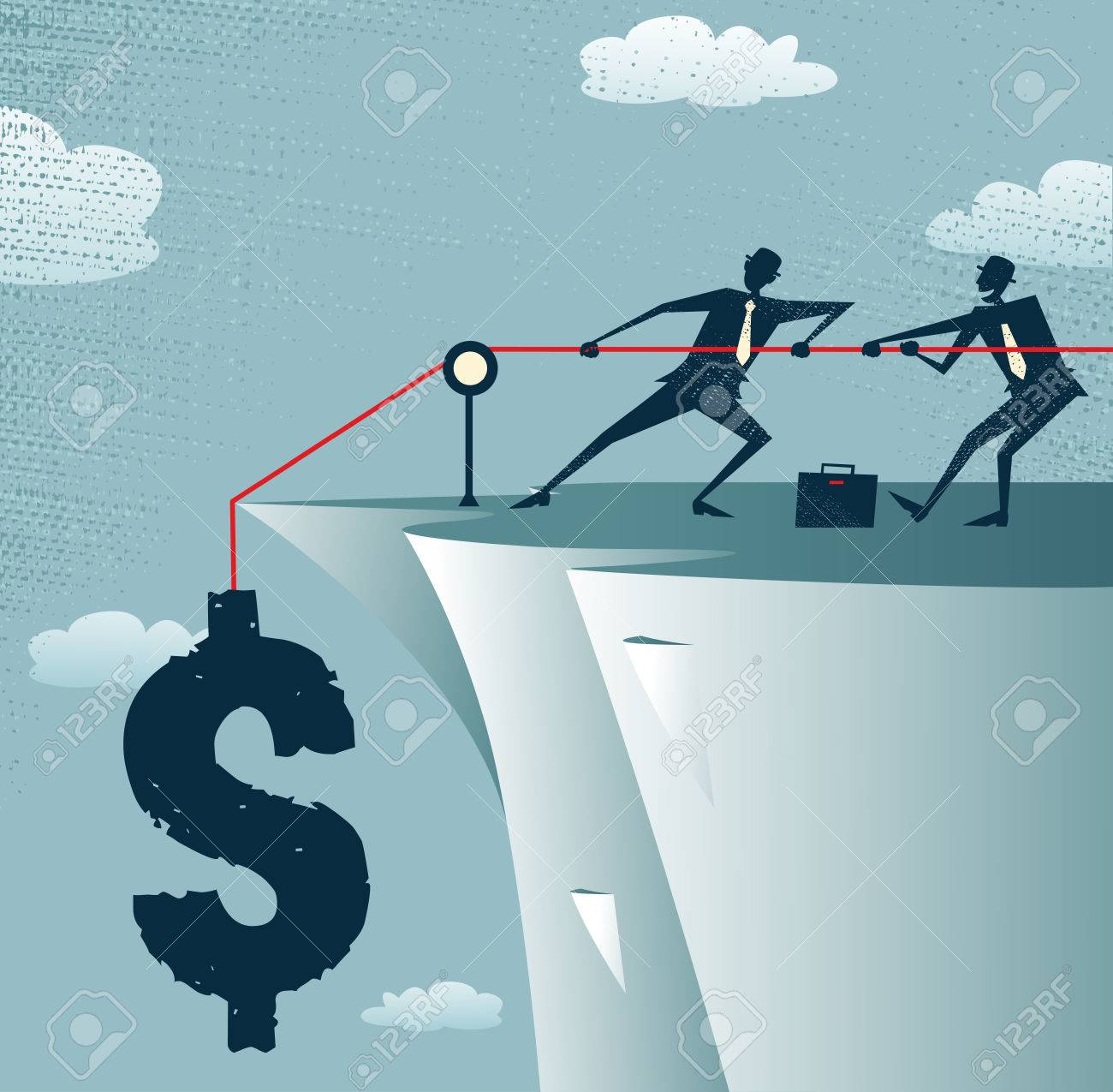 Abstract Businessmen work together to save the Dollar Stock Vector - 23079009