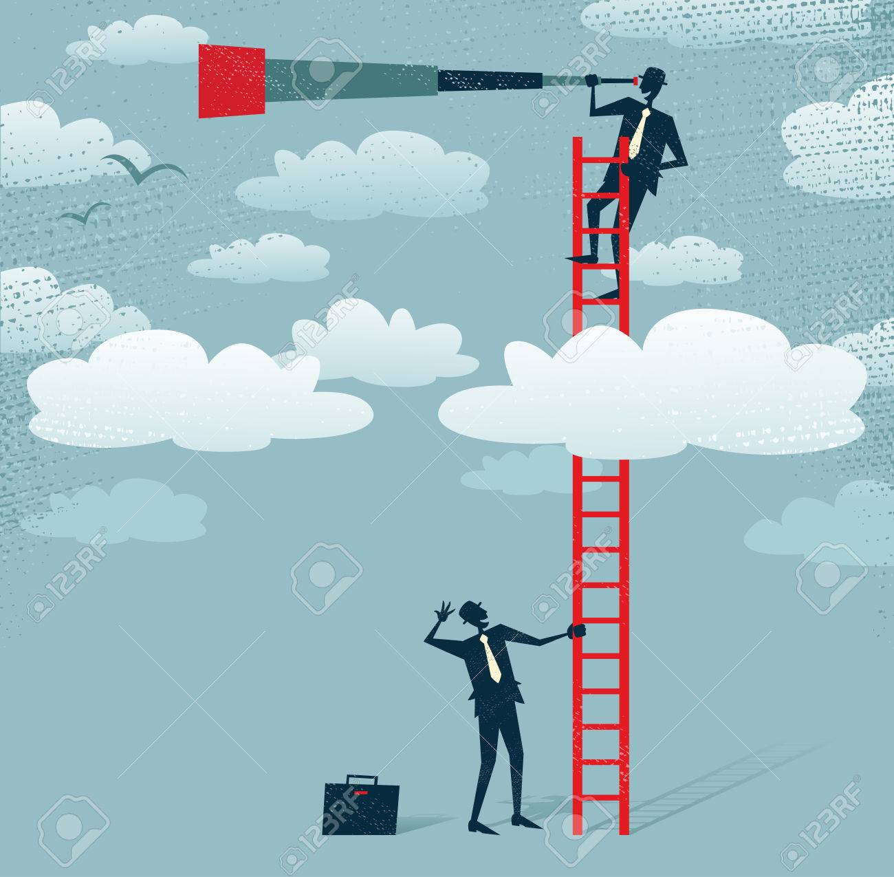 Abstract Businessman gets a better view Great illustration of Retro styled Businessman climbing above the clouds to get a better view of the landscape than his competitors - 23863235