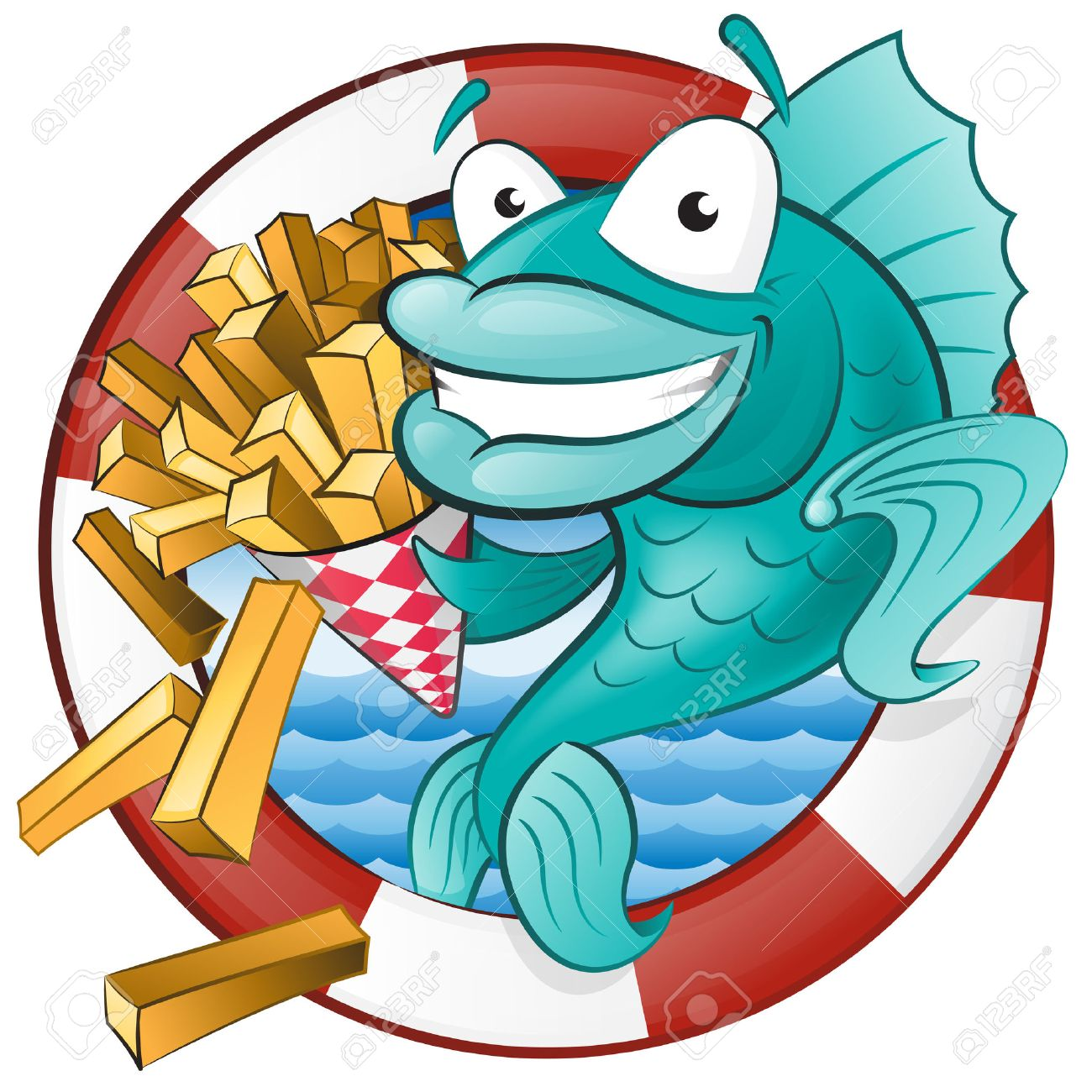 Great illustration of a Cute Cartoon Cod Fish eating a tasty Traditional British portion of chips - 24589567