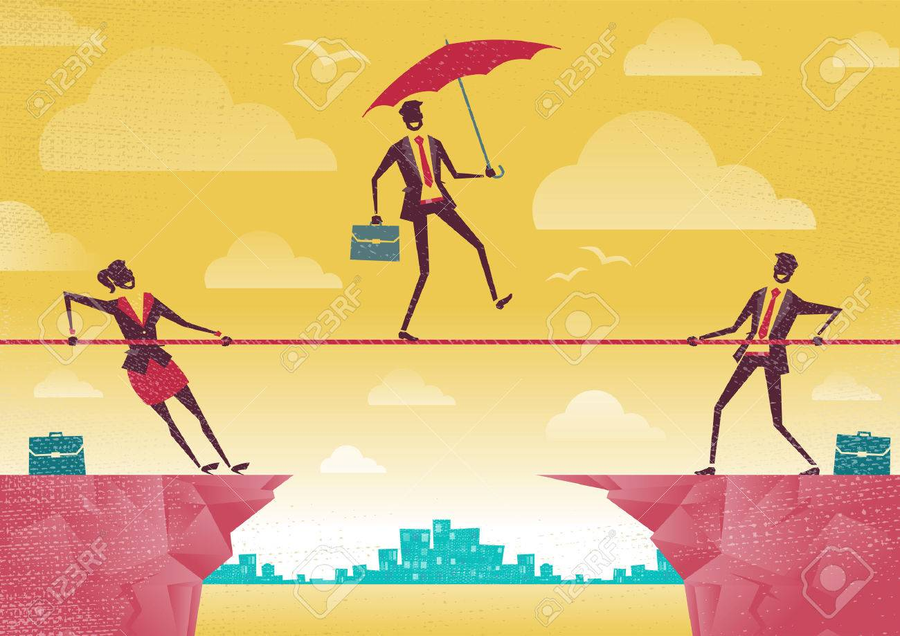 Businessman and Businesswoman use Teamwork on Clifftop. Great illustration of Retro styled Business People working as a team to assist their colleague through a difficult situation. - 35821044