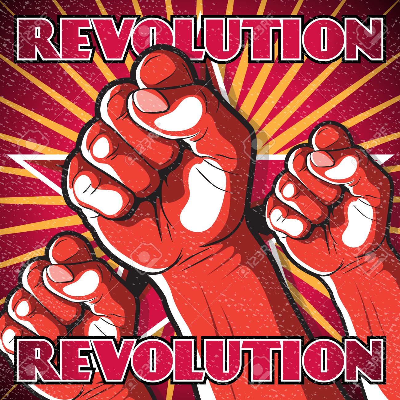 retro punching fist revolution sign great illustration of russian