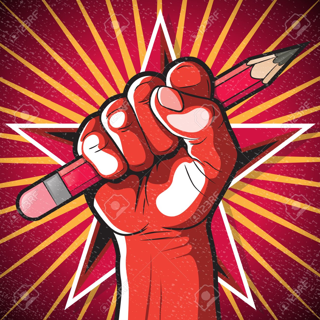 revolutionary punching fist and pencil sign great illustration