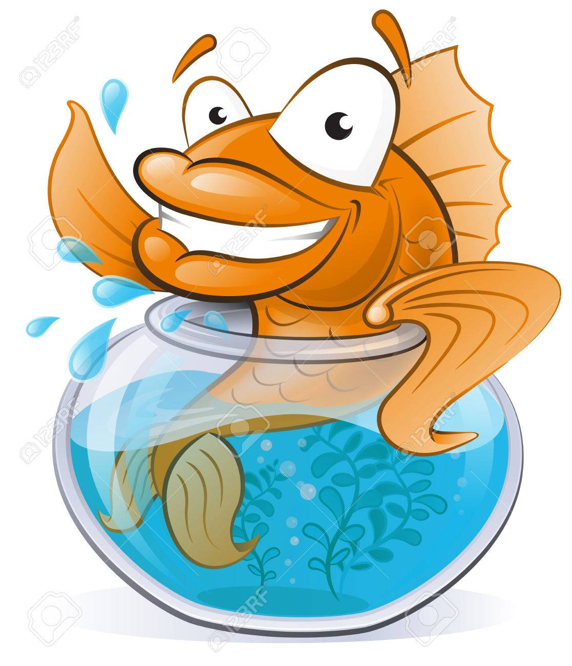 Cartoon goldfish illustration royalty free stock photo image - Great Illustration Of A Cute Cartoon Goldfish Waving From The Comfort Of His Goldfish Bowl