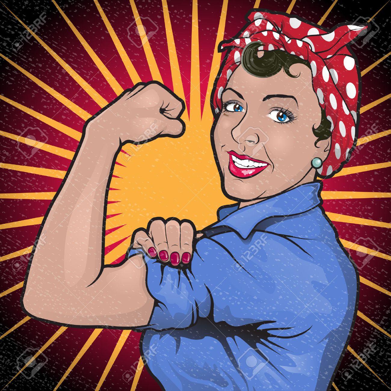 レトロなストング パワフルな女性の偉大なイラストに触発有名な第二次世界大戦プロパガンダ ポスターのロージー リベットが戦争の努力に彼らの役割を果たすことを呼びかけるのイラスト素材 ベクタ Image