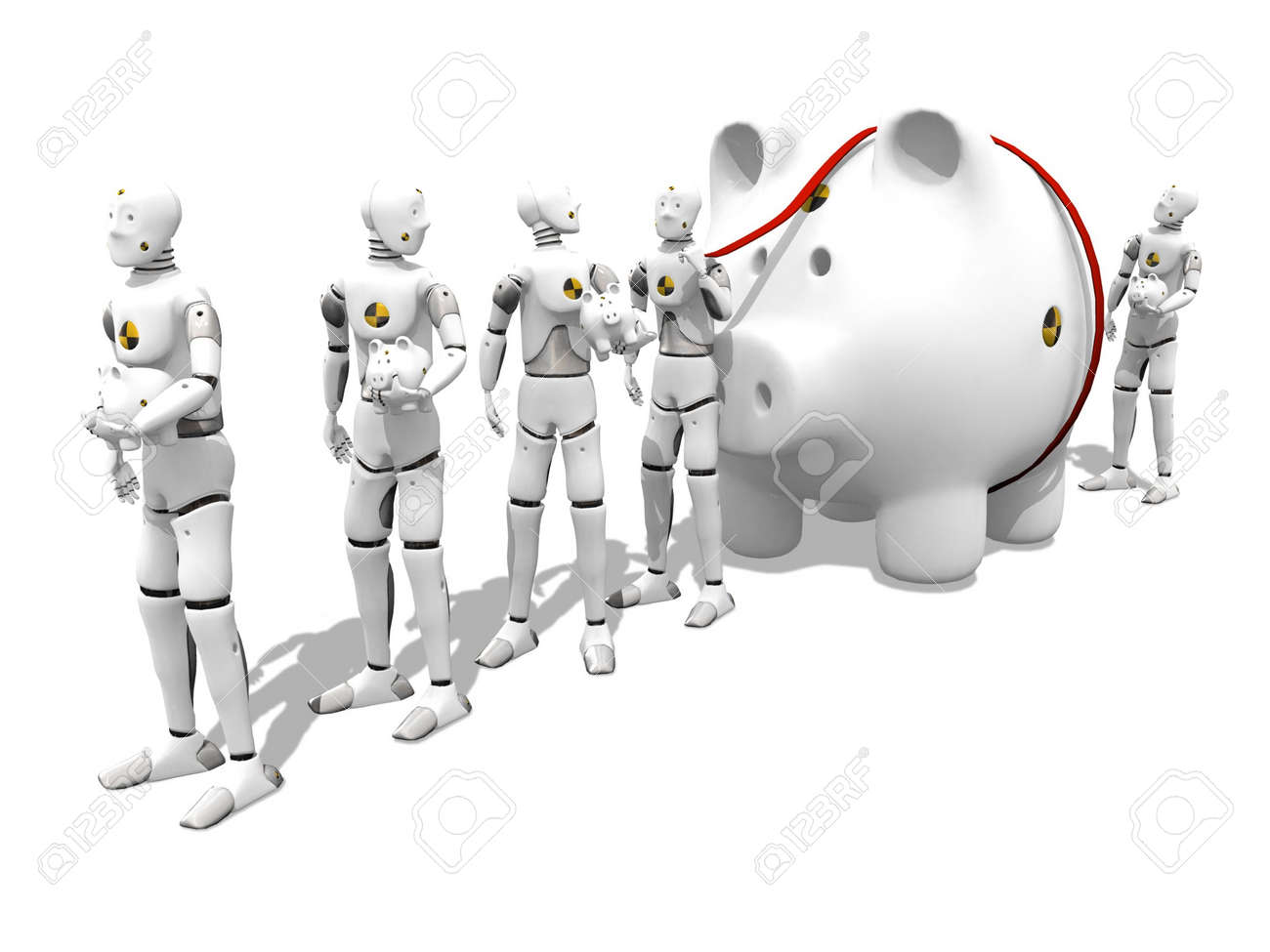 Dummy with a giant piggy bank in a lone to the bank over white background - 748353