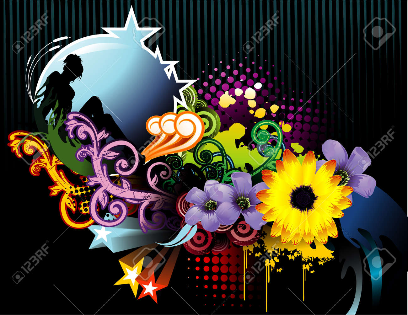 vector illustration of colorful flowers with dark background and lady Stock Vector - 3136182