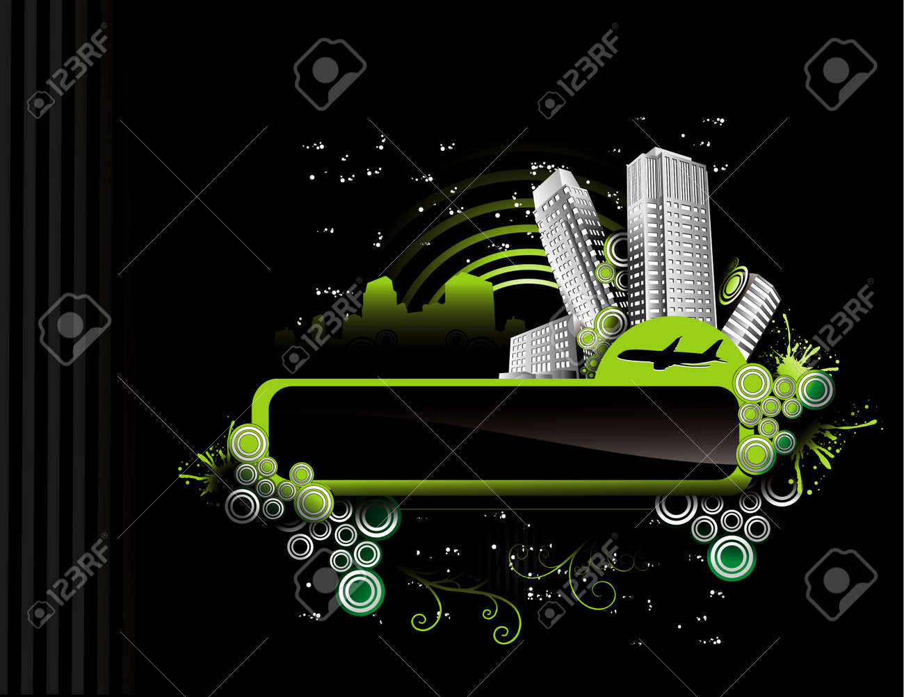 vector illustration of night city with dark background Stock Vector - 3293235