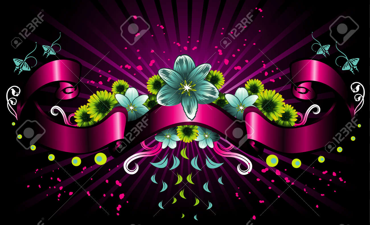 vector illustration of colorful flowers with label Stock Vector - 3345244
