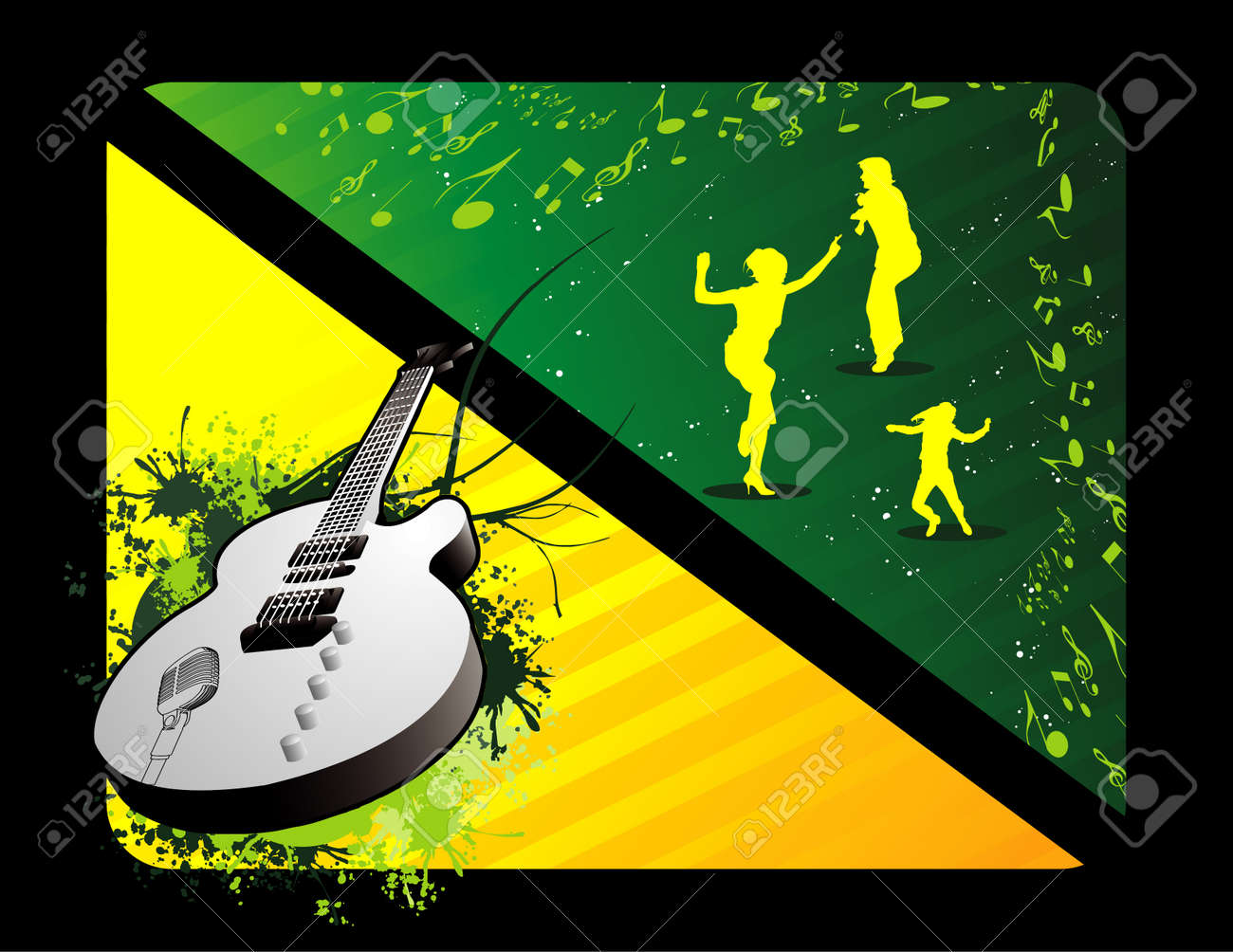 vector music people and guitar Stock Vector - 3420027