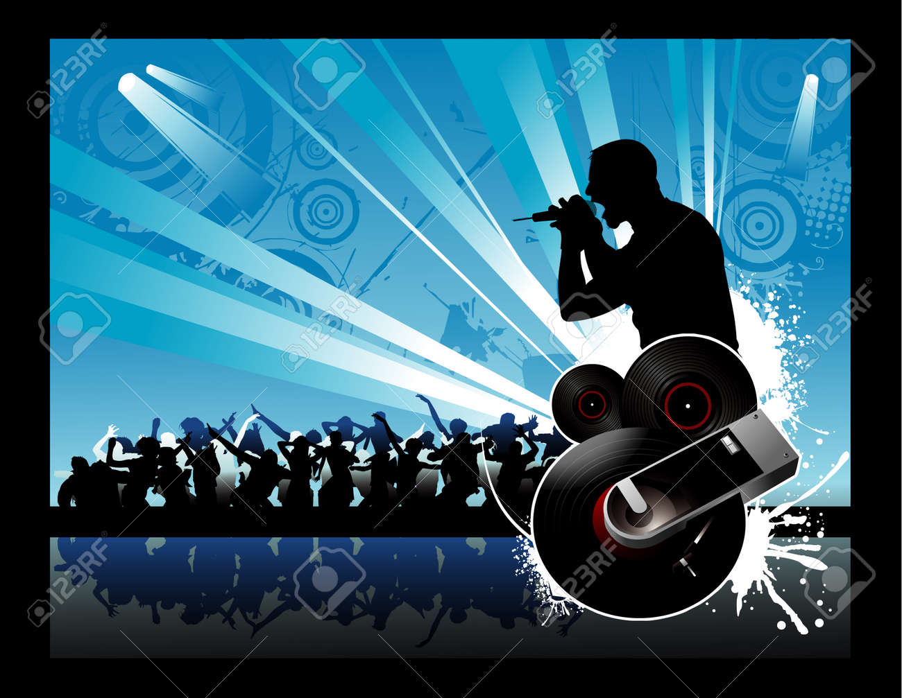 vector illustration of a rock concert with cool background Stock Vector - 3514351