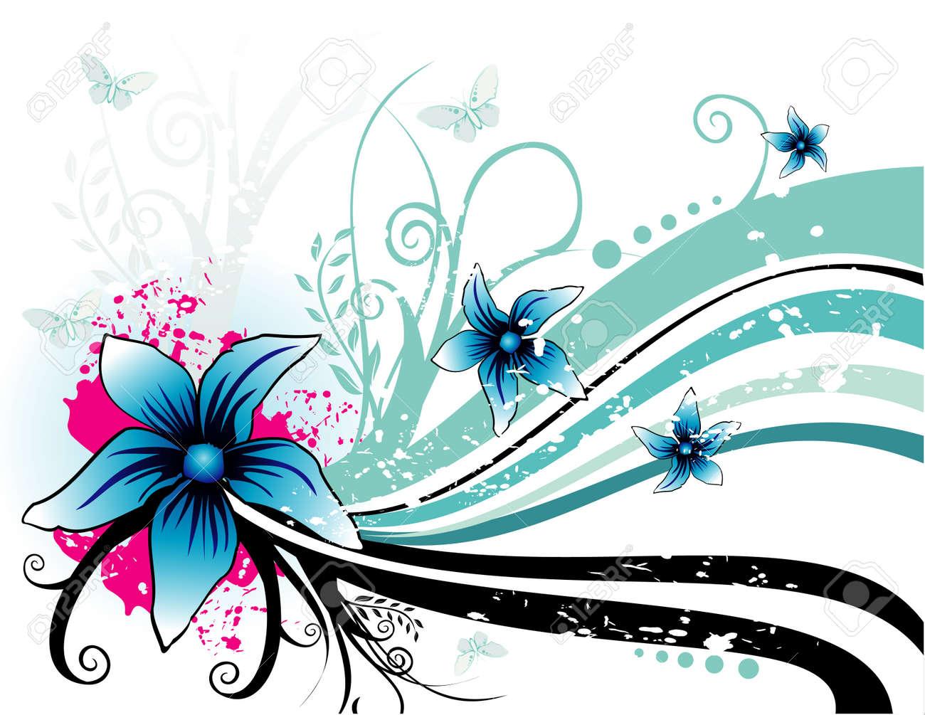 クールな背景を持つ花のベクトル イラストのイラスト素材ベクタ