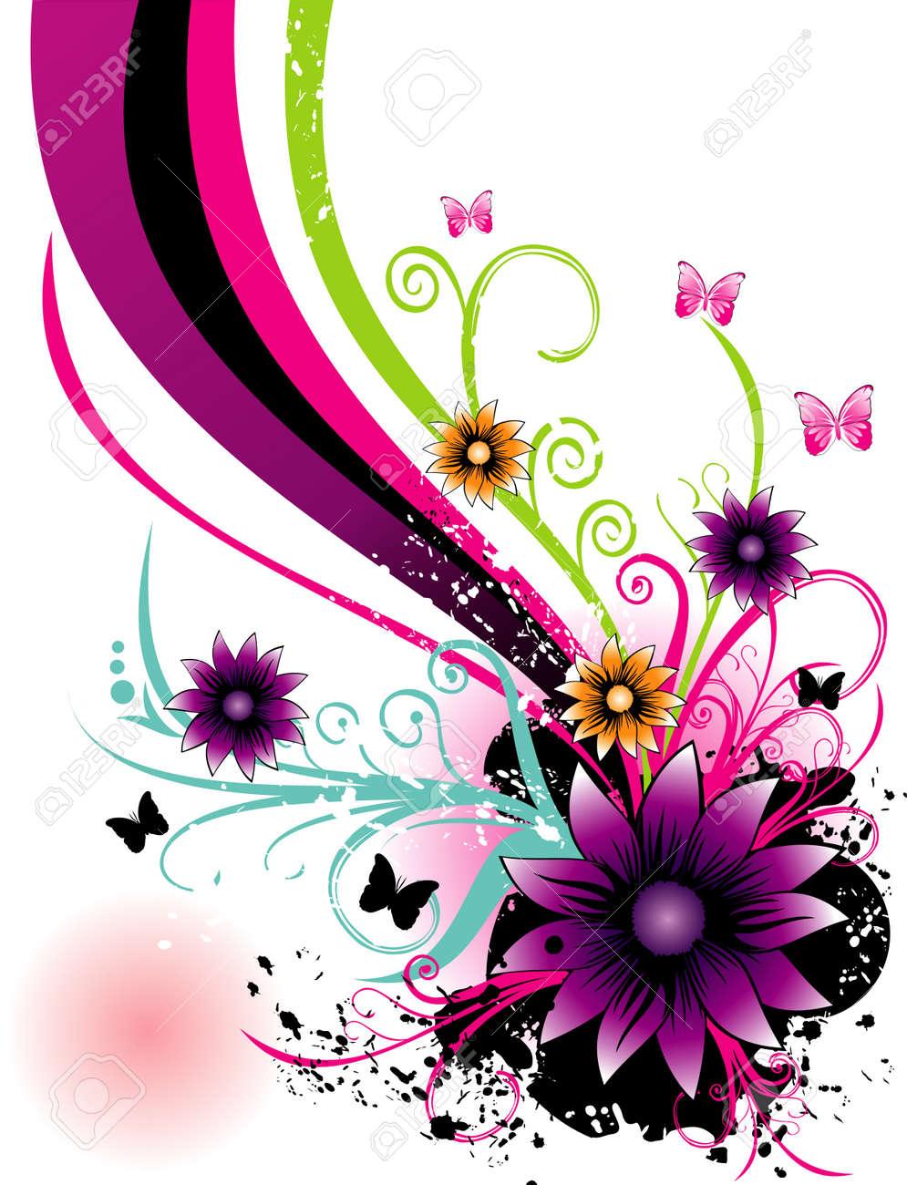 クールな背景を持つ花のベクトル イラストのイラスト素材 ベクタ Image