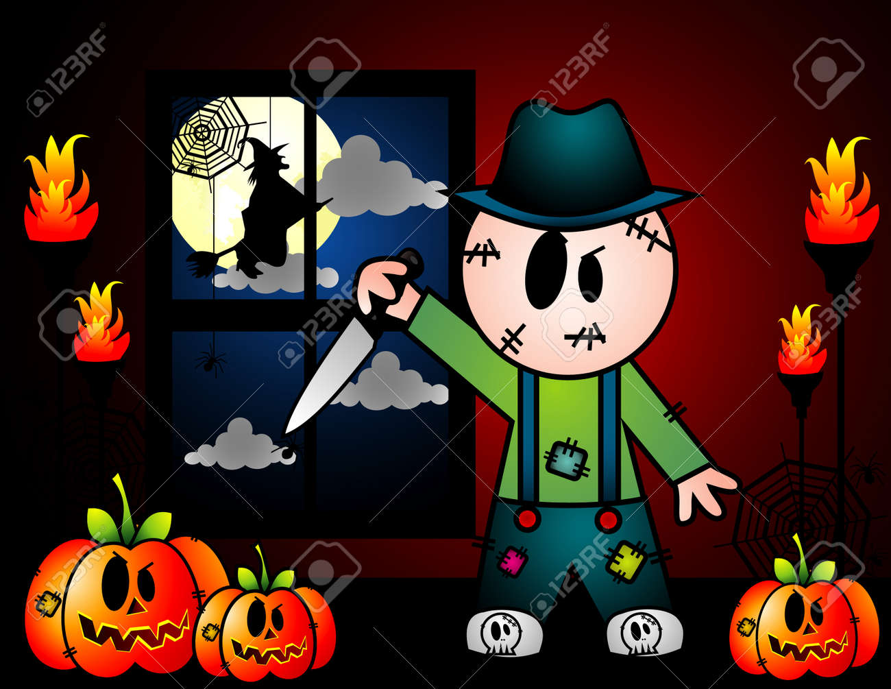 Vector illustration of halloween character and cool background Stock Vector - 3691820