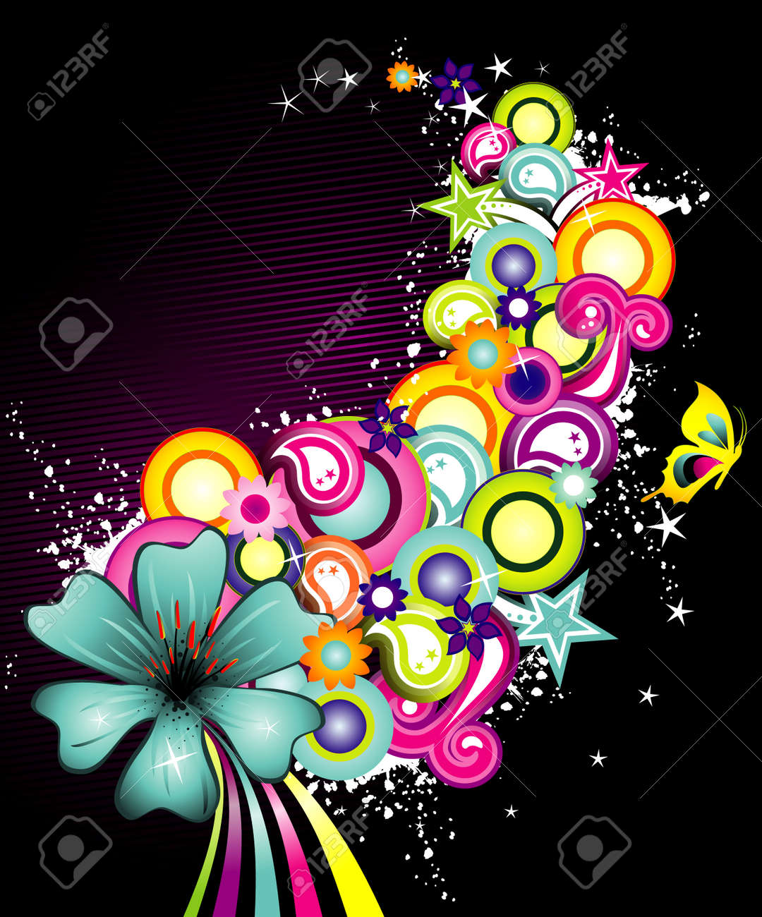 vector illustration of colorful flowers with white background Standard-Bild - 3693420