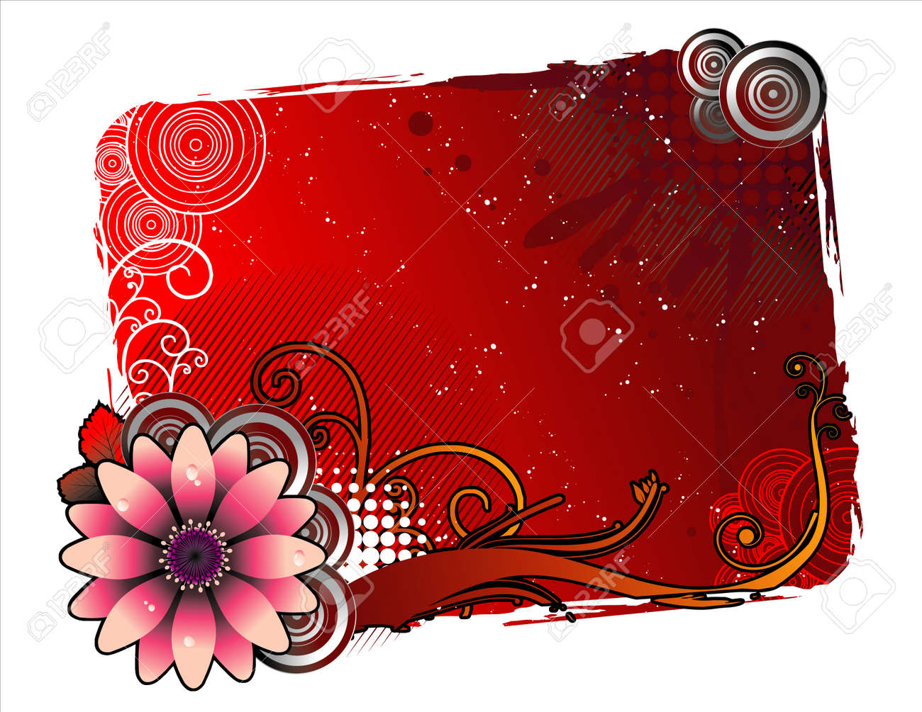 vector illustration of fantasy shapes of flowers for text input Stock Vector - 3866975