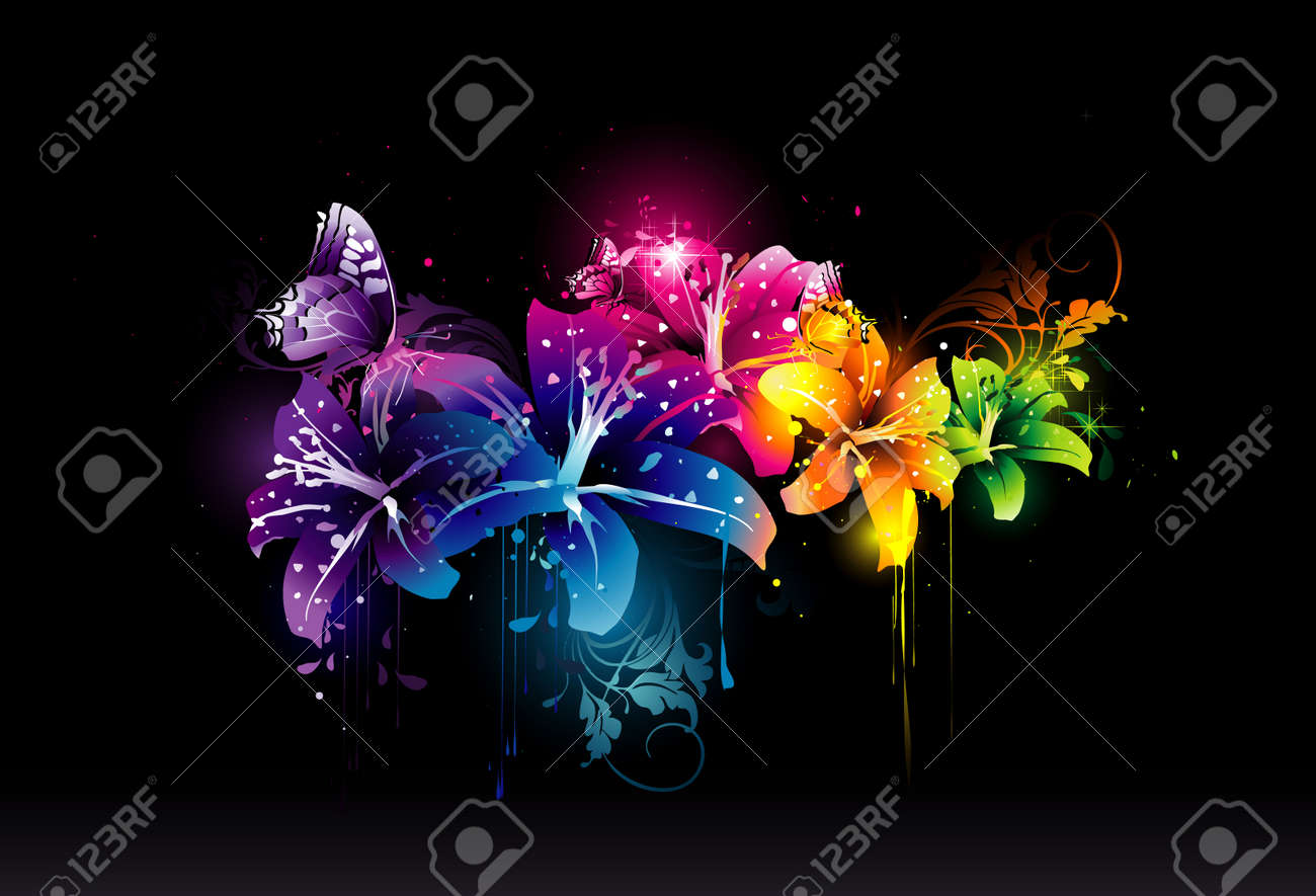2d vector composition of beautiful light flowers Stock Vector - 5951796