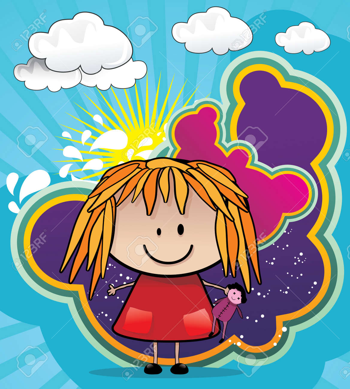 girl playing with dolls cartoon vector Stock Vector - 8776315
