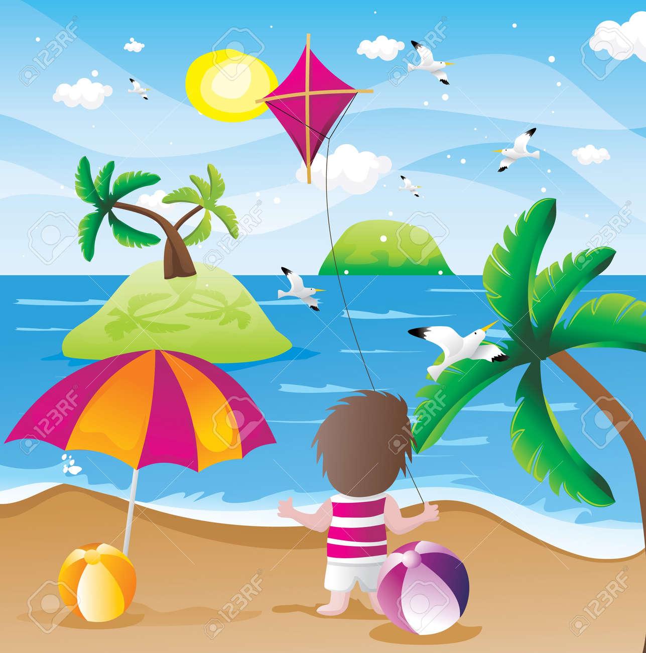 beach summer holidays vector Stock Vector - 9651309