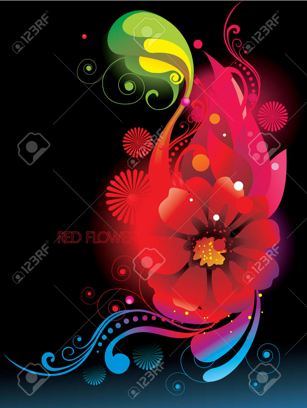 neon flowers over a black background royalty free cliparts vectors